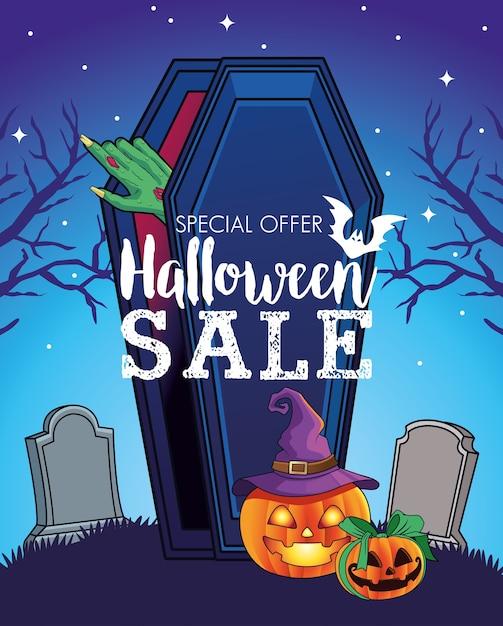 Manifesto stagionale di vendita di halloween con la mano che esce dalla bara nel cimitero Vettore Premium