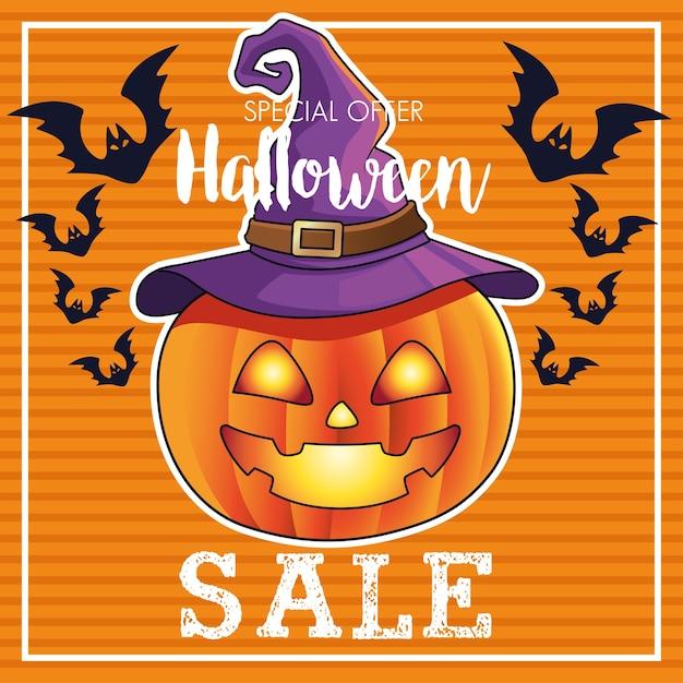 Manifesto stagionale di vendita di halloween con la zucca che porta il cappello della strega Vettore Premium