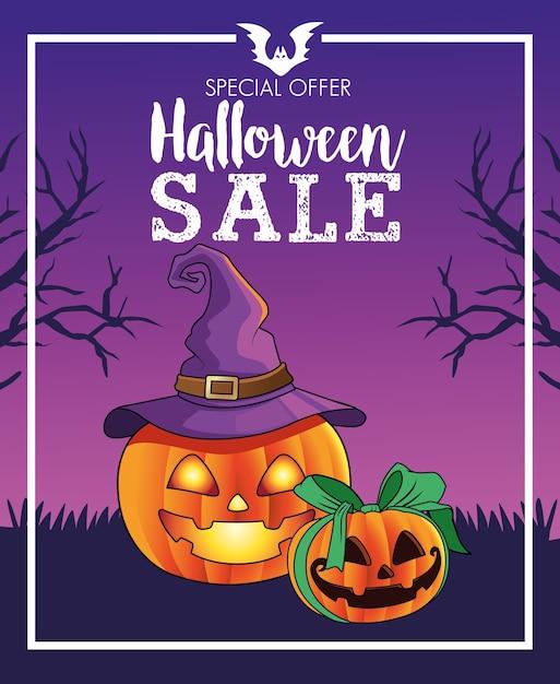 Manifesto stagionale di vendita di halloween con zucche che indossano la scena del cappello della strega Vettore Premium