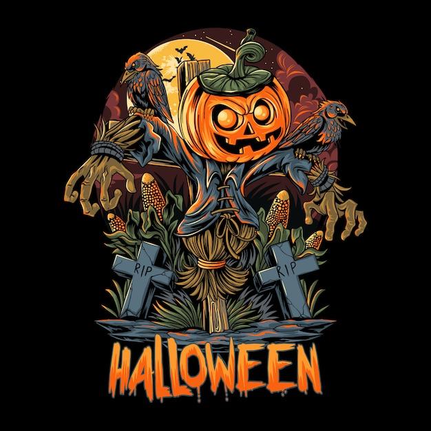 Scarecrow di halloween e opere di zucca Vettore Premium