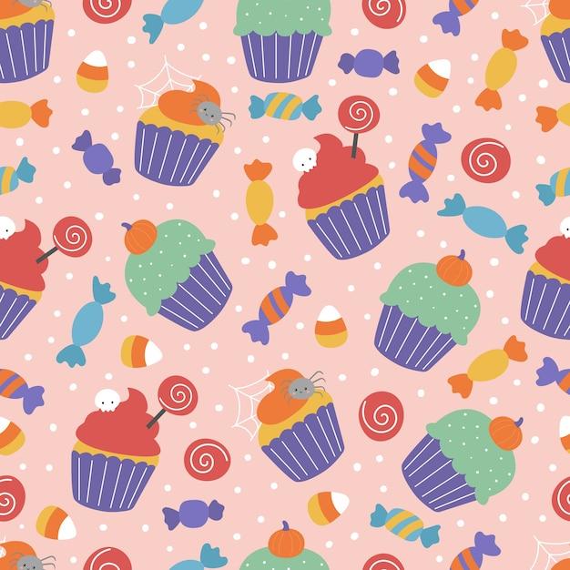 Reticolo senza giunte di halloween con i dolci. cupcakes spettrali e caramelle su sfondo rosa. Vettore Premium