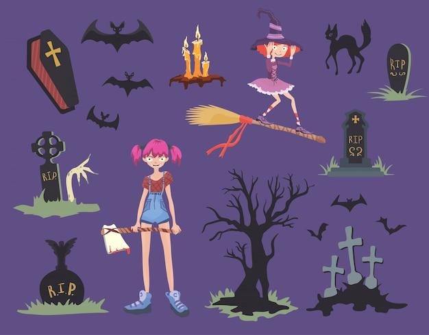 Set di halloween. ragazza con ascia, gatto nero, strega su una scopa, lapidi e altri simboli di halloween. Vettore Premium