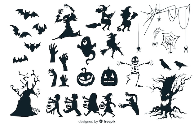 Collezione silhouette di halloween Vettore Premium