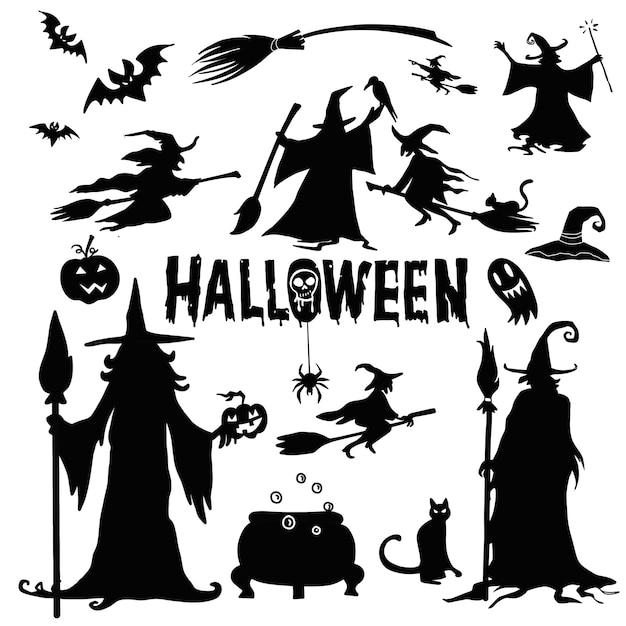 Sagome di halloween. strega, zucca, pipistrello, ragno. festa di halloween. etichetta. dolcetto o scherzetto. Vettore Premium
