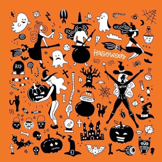 Sagome di halloween. strega, zucca, gatto nero e ragno per la decorazione della festa di halloween. Vettore Premium