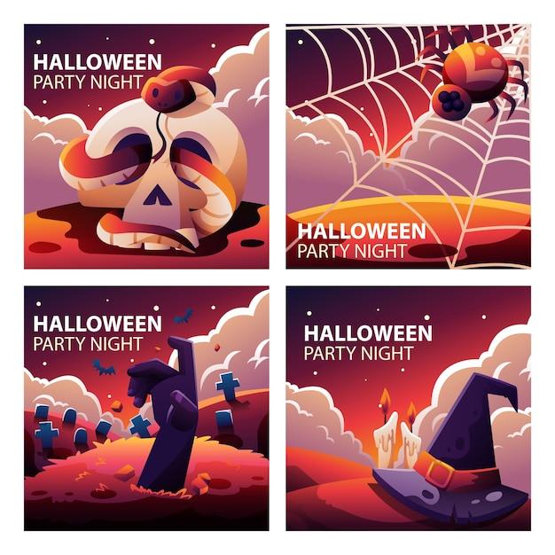 Raccolta di modelli di social media di halloween Vettore Premium