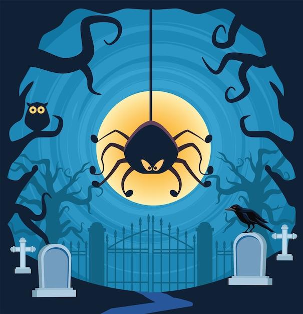 Ragno di halloween che appende nella scena del cimitero Vettore Premium