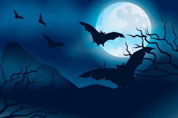 Tema carta da parati di halloween Vettore Premium