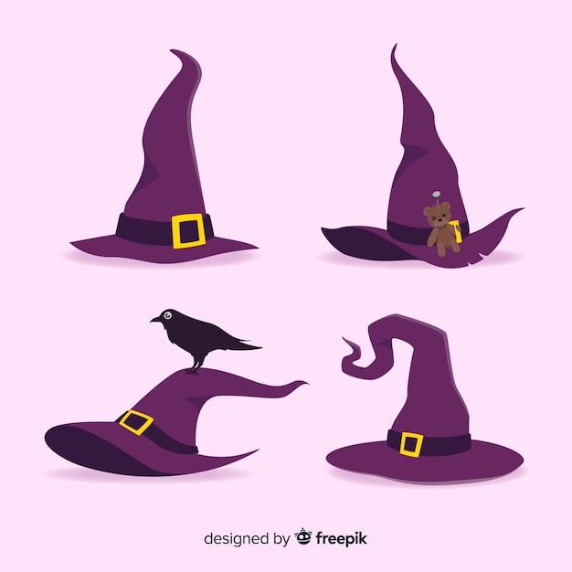 Collezione di cappello strega di halloween Vettore Premium