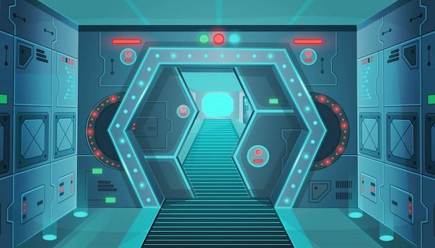 Corridoio, con, uno, porta, in, uno, spaceship., vettore, cartone animato, interno, stanza, fantascienza, astronave. Vettore Premium