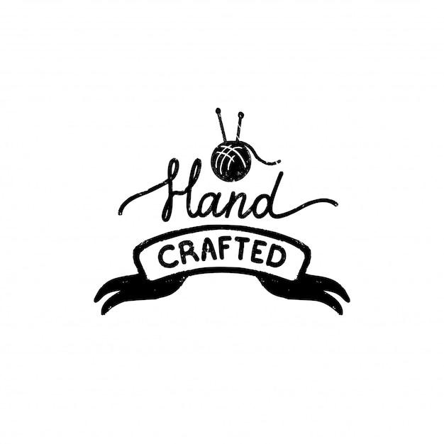 Icona o logo realizzati a mano. icona di timbro vintage con un'iscrizione artigianale sul nastro Vettore Premium