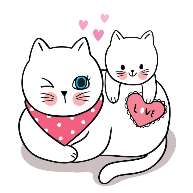 Mano disegnare fumetto carino per san valentino con mamma e bambino gatto e cuore Vettore Premium