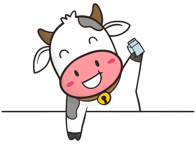 Mano disegnare mucca carina con milkbox Vettore Premium