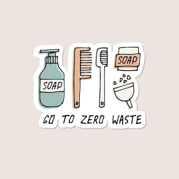Articoli per l'igiene personale riutilizzabili dell'illustrazione di tiraggio della mano spilli di adesivi di punte di rifiuti zero Vettore Premium