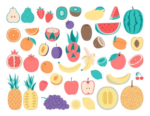 Doodle di disegno a mano, frutta. Vettore Premium