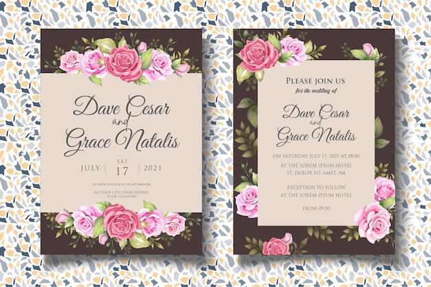 Modello di invito matrimonio floreale disegno a mano con bellissimi fiori Vettore Premium