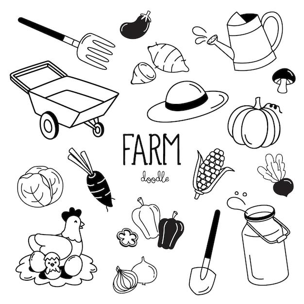 Stili di disegno a mano con elementi di fattoria. doodle di fattoria. Vettore Premium