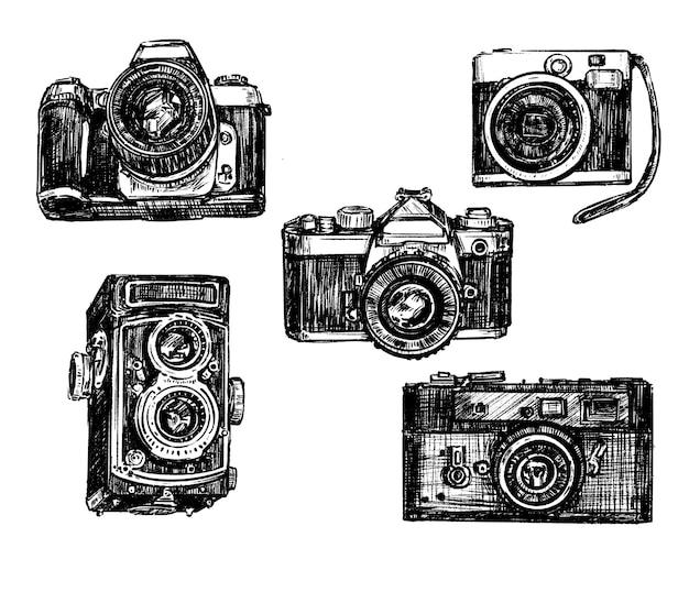Disegno a mano della collezione di fotocamere vintage Vettore Premium
