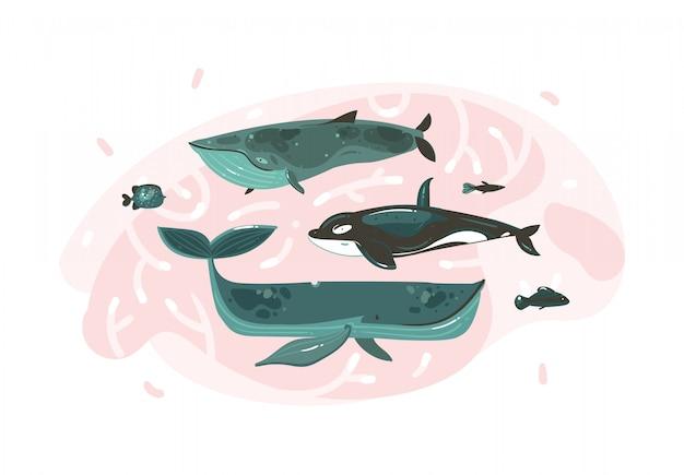 La raccolta subacquea grafica disegnata a mano delle illustrazioni di ora legale del fumetto astratto ha messo con le barriere coralline e i caratteri di grandi balene di bellezza isolati su fondo bianco Vettore Premium