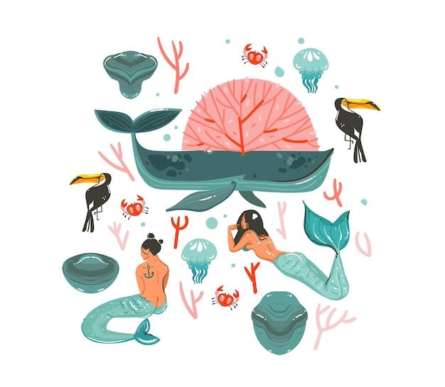 Disegnato a mano fumetto astratto grafico estate tempo subacqueo illustrazioni impostate con barriere coralline e caratteri di ragazze sirena della boemia di bellezza isolati su priorità bassa bianca. Vettore Premium