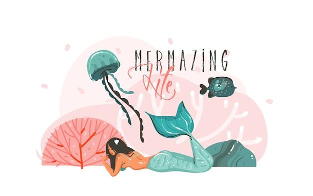 Manifesto di illustrazioni subacquee grafiche del fumetto astratto disegnato a mano con barriere coralline, pesce, alghe e carattere ragazza sirena di bellezza isolato su priorità bassa bianca. Vettore Premium
