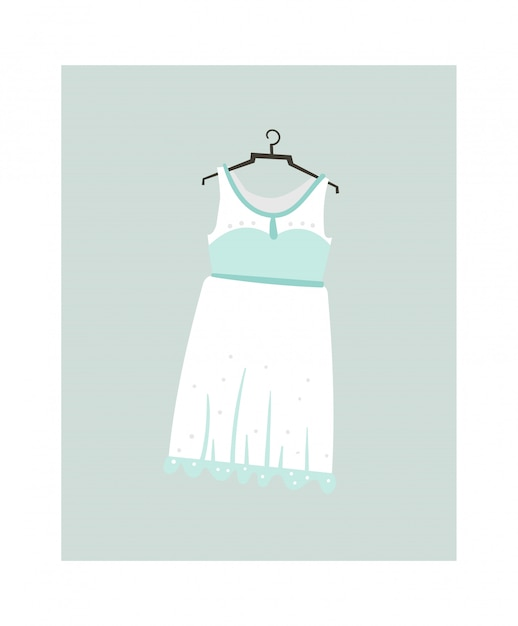 Icona di illustrazioni del fumetto astratto disegnato a mano con abito da sposa isolato su bianco Vettore Premium
