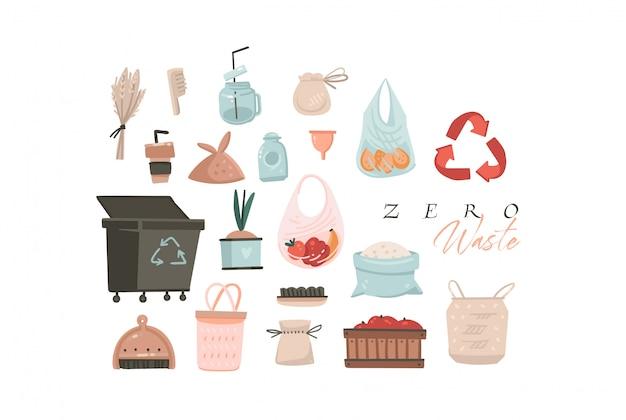 La raccolta moderna di arte delle illustrazioni grafiche del fumetto astratto disegnato a mano ha messo con il concetto zero delle illustrazioni del pianeta di spreco e di spreco isolato su fondo bianco Vettore Premium