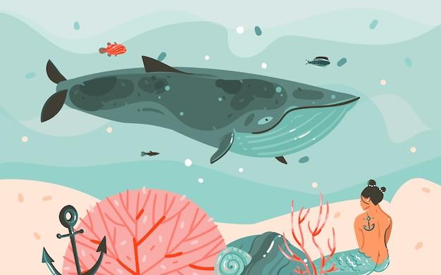 Disegnato a mano astratto fumetto estate tempo illustrazioni grafiche arte modello sfondo sirena ragazza, balena e onde blu sott'acqua. Vettore Premium