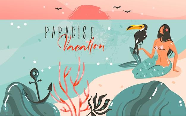 Fondo del modello delle illustrazioni grafiche dell'ora legale del fumetto astratto disegnato a mano con il paesaggio della spiaggia dell'oceano, il tramonto e la sirena della ragazza di bellezza, uccello del tucano con citazione di tipografia di vacanza di paradiso Vettore Premium