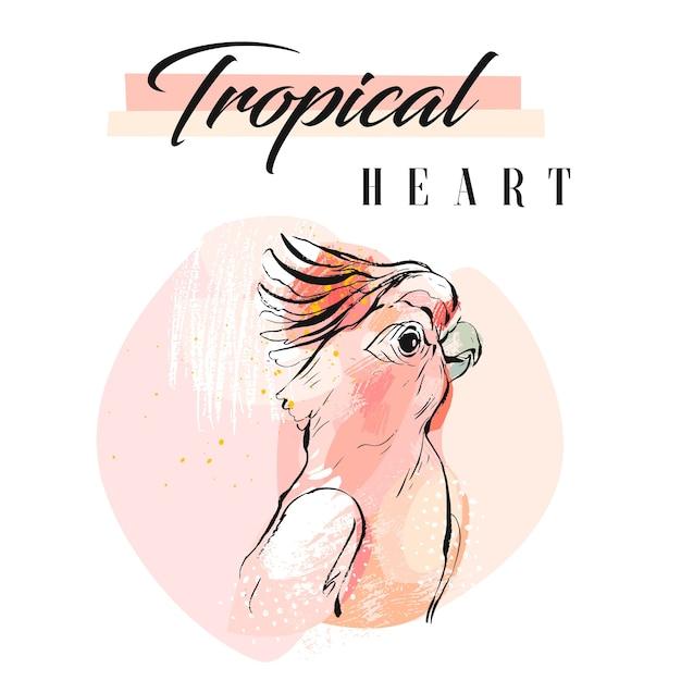 Collage di pappagallo tropicale creativo astratto disegnato a mano con struttura organica a mano libera Vettore Premium