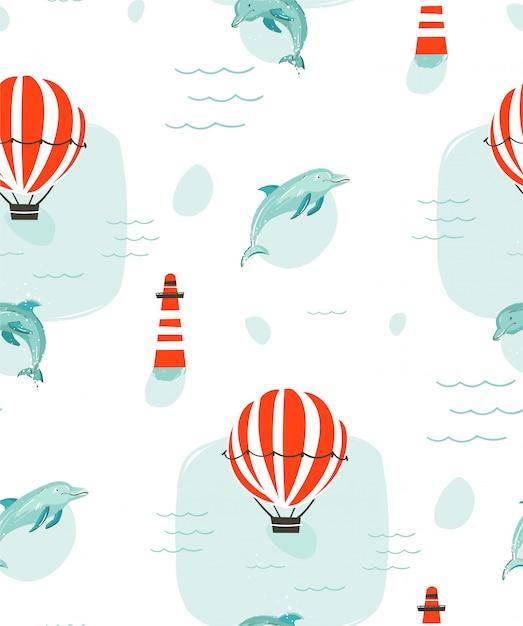 Modello senza cuciture delle illustrazioni del fumetto di ora legale sveglia astratta disegnata a mano con i delfini Vettore Premium