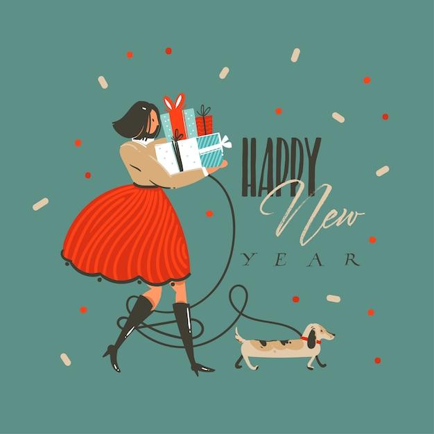 Divertimento disegnato a mano astratto buon natale e felice anno nuovo cartoon illustrazione auguri con cane divertente, ragazza con regali e felice anno nuovo testo su sfondo verde. Vettore Premium