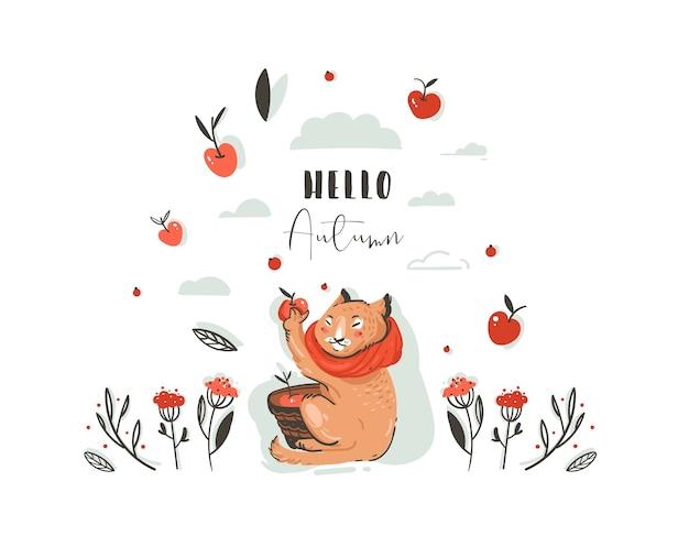 Illustrazione di autunno del fumetto di saluto astratto disegnato a mano impostato con il carattere del gatto sveglio raccolto mela raccolta con bacche, foglie, ramo e tipografia ciao autunno isolato su priorità bassa bianca. Vettore Premium