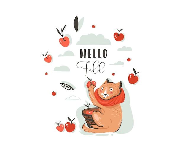 Illustrazione di autunno del fumetto di saluto astratto disegnato a mano impostato con il carattere del gatto sveglio raccolto raccolta delle mele con bacche, foglie, ramo e tipografia ciao caduta isolato su priorità bassa bianca. Vettore Premium