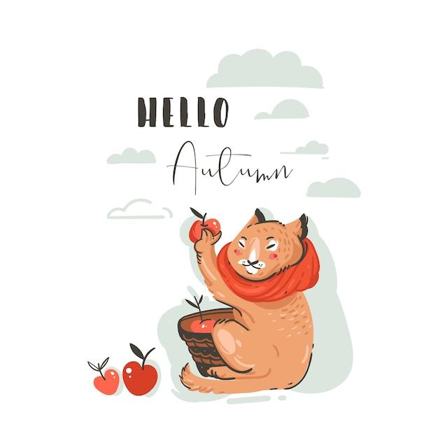 L'illustrazione di autunno del fumetto di saluto astratto disegnato a mano ha messo con il raccolto delle mele raccolto del carattere sveglio del gatto Vettore Premium