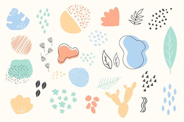 Sfondo di forme organiche astratte disegnate a mano Vettore Premium