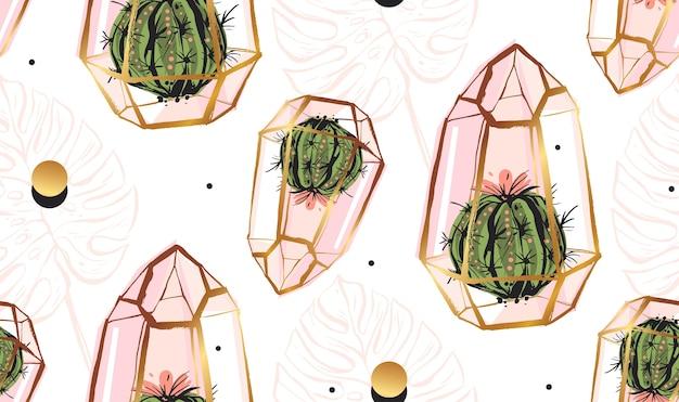 Modello senza cuciture astratto disegnato a mano con terrario dorato Vettore Premium