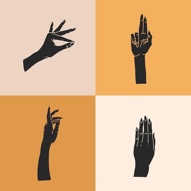 Illustrazione grafica piatta astratta disegnata a mano con set di elementi del logo, sagome di mani umane, linea, arte magica in stile semplice per il branding, isolato su sfondo colorato. Vettore Premium