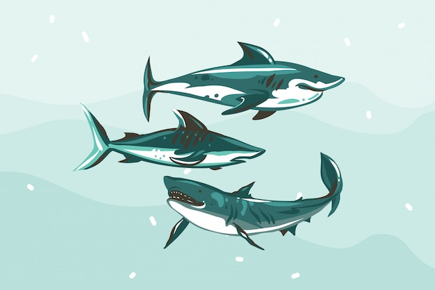 L'illustrazione di riserva astratta disegnata a mano con la raccolta del disegno dello squalo di nuoto subacqueo ha messo sul fondo blu di colore Vettore Premium