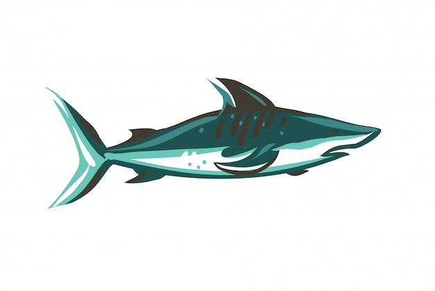Illustrazione di riserva astratta disegnata a mano con lo squalo di nuoto subacqueo che attinge il fondo bianco di colore. Vettore Premium