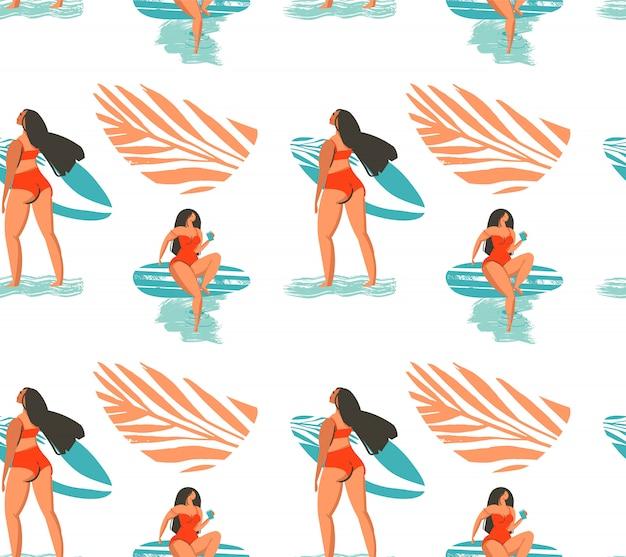 Modello senza cuciture astratto disegnato a mano di ora legale con la ragazza dei surfisti in bikini sulla spiaggia e foglie di palma tropicali su fondo bianco Vettore Premium