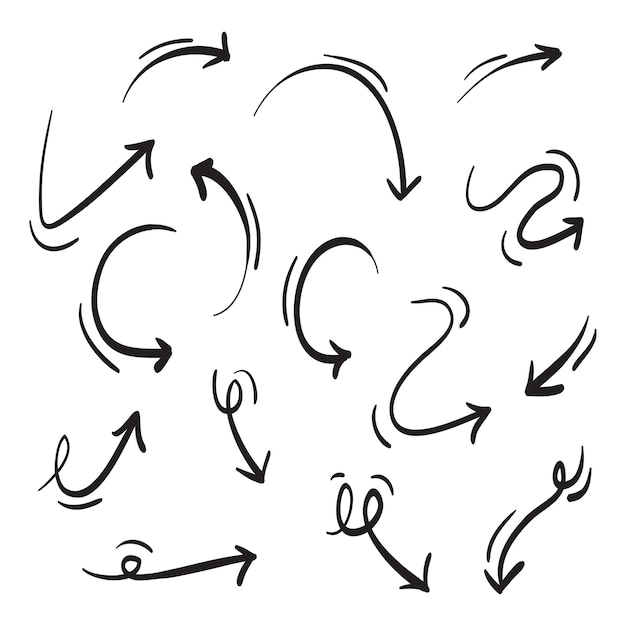 Set di icone frecce disegnate a mano isolato su bianco Vettore Premium