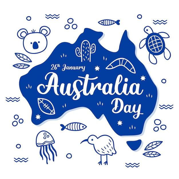Giorno disegnato a mano in australia Vettore Premium