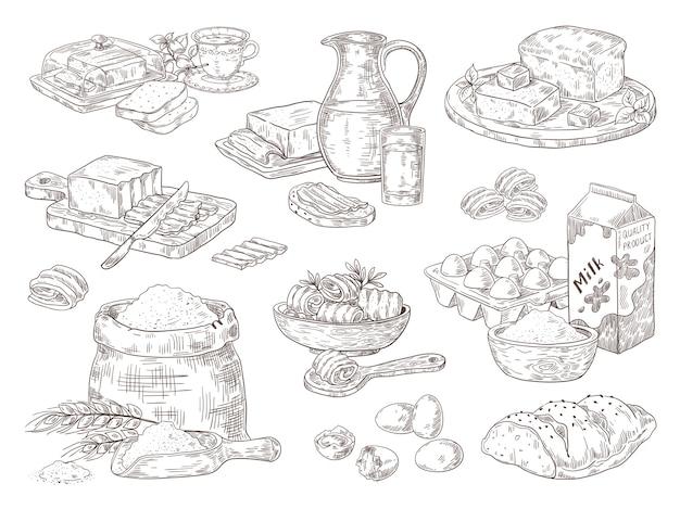 Illustrazione di prodotti da forno disegnati a mano Vettore Premium