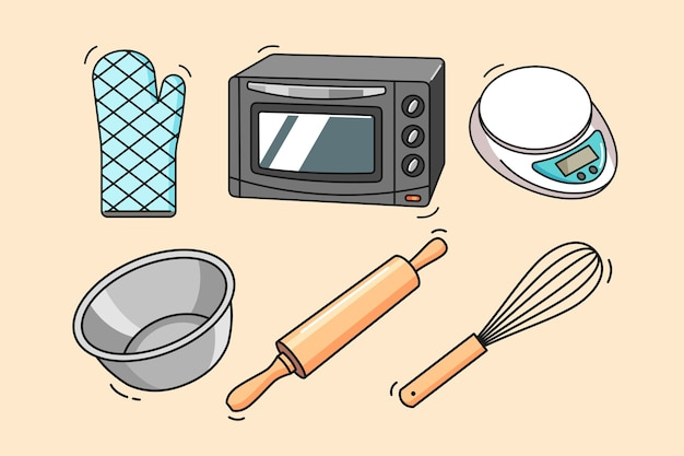 Strumenti e attrezzature da forno disegnati a mano Vettore Premium