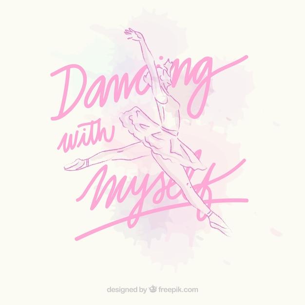 Mano ballerina disegnato con un testo Vettore Premium