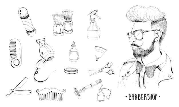 Set da parrucchiere disegnato a mano. accessori della collezione pettine, rasoio, pennello da barba, forbici, asciugacapelli, asta da barbiere e bomboletta spray. illustrazione vettoriale contorno Vettore Premium