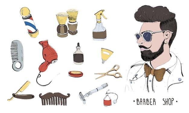 Set da parrucchiere disegnato a mano. accessori da collezione pettine, rasoio, pennello da barba, forbici, asciugacapelli, asta da barbiere e bomboletta spray. Vettore Premium