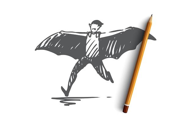 Carattere di pipistrello disegnato a mano sullo schizzo di concetto di halloween Vettore Premium