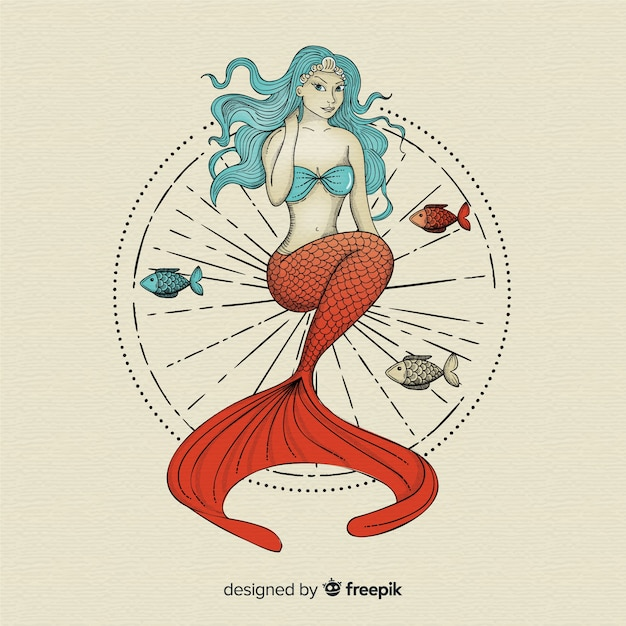 Sfondo disegnato a mano bella sirena Vettore Premium